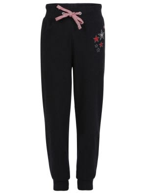 Black Melange Girls Track Pant
