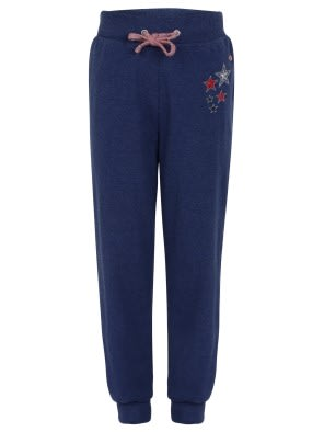 Blue Melange Girls Track Pant