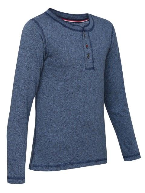 Navy Grindle Boys Henley T-Shirt Long Sleeve