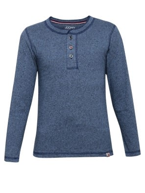Navy Grindle Boys Henley T-Shirt Long Sleeve