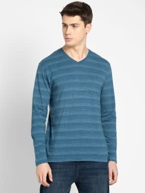 Seaport Teal V-Neck Long Sleeve T-Shirt