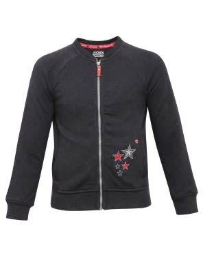 Black Melange Girls Jacket