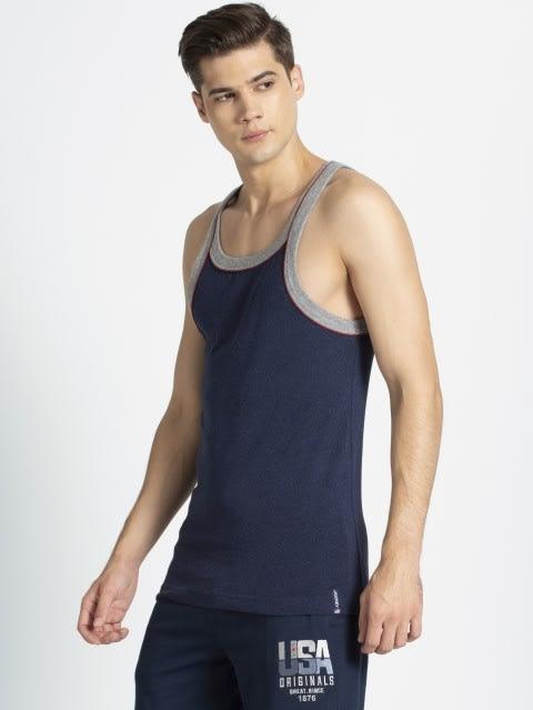 Ink Blue & Grey Melange Vest