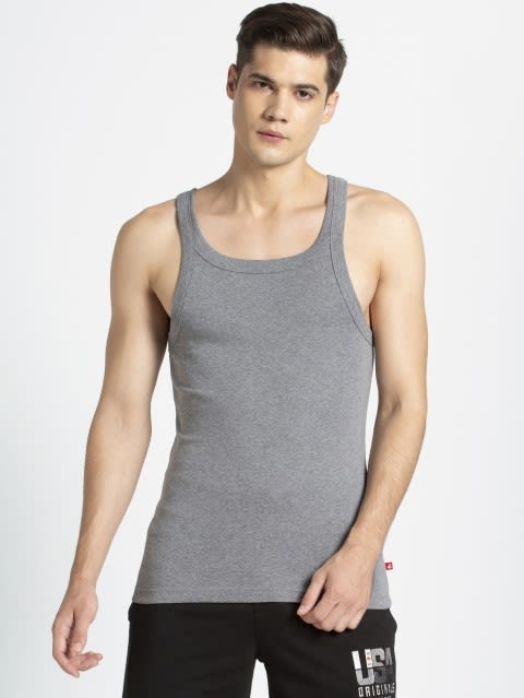 Mid Grey Melange Square Neck Vest