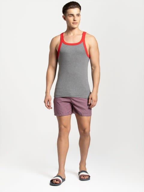 Mid Grey Melange & Zone Red Fashion Vest