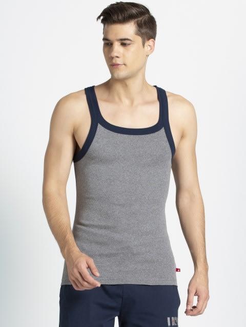 Mid Grey Melange & Navy Fashion Vest