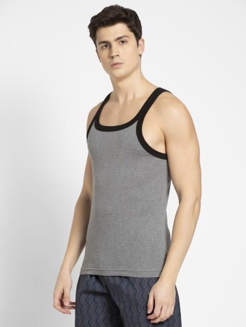 Mid Grey Melange & Black Fashion Vest