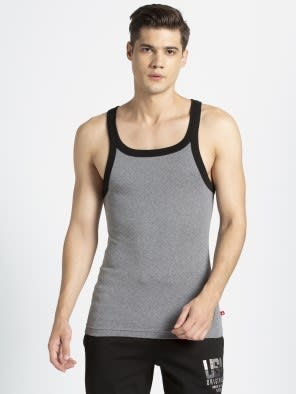 Mid Grey Melange & Black Fashion Vest