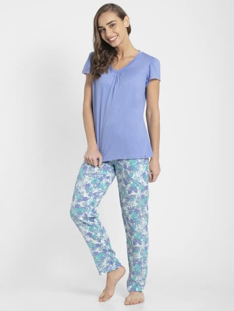 Iris Blue Assorted Prints Woven Long Pant