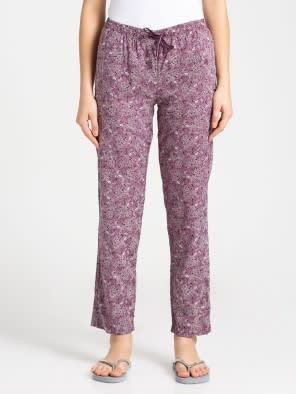 Purple Wine Assorted Prints Woven Long Pant