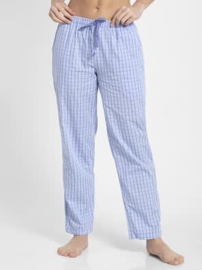 Iris Blue Assorted Checks Long Pant