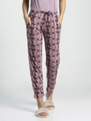 Purple Wine Assorted Prints Knit Lounge Pants