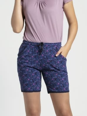 Classic Navy Assorted Prints Knit Sleep Shorts