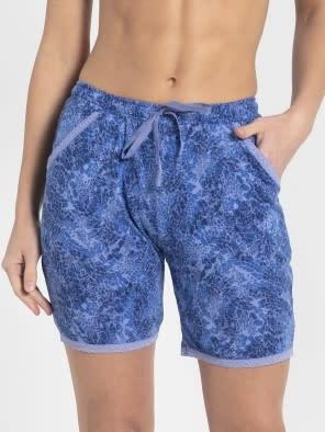 Iris Blue Assorted Prints Knit Sleep Shorts