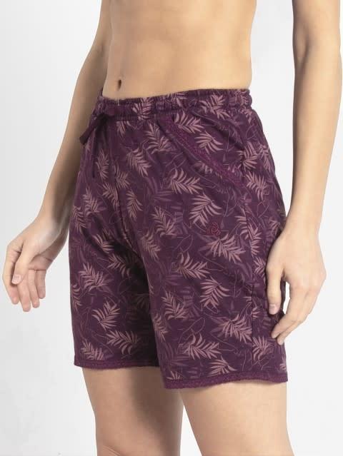 Purple Wine Assorted Prints Knit Sleep Shorts