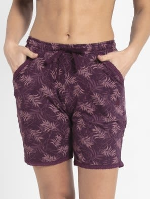 Purple Wine Assorted Prints Knit Sleep Shorts