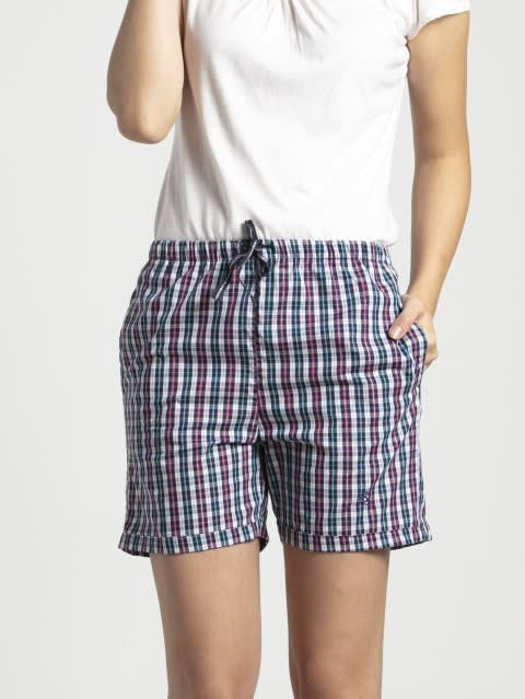 Classic Navy Assorted Checks Woven Knee Length Shorts