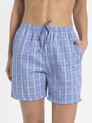 Iris Blue Assorted Checks Woven Knee Length Shorts