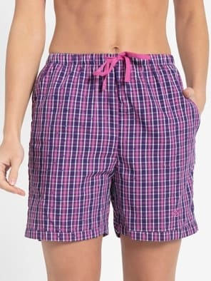 Lavender Scent Assorted Checks Woven Knee Length Shorts
