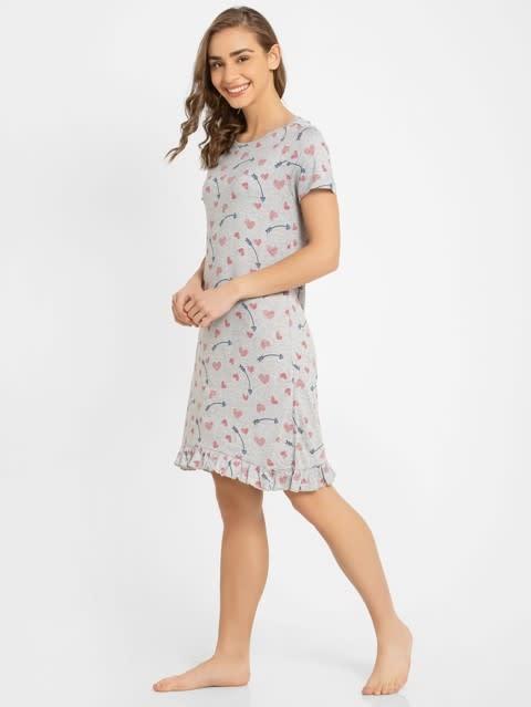 Light Grey Melange Assorted Prints Sleep Dress