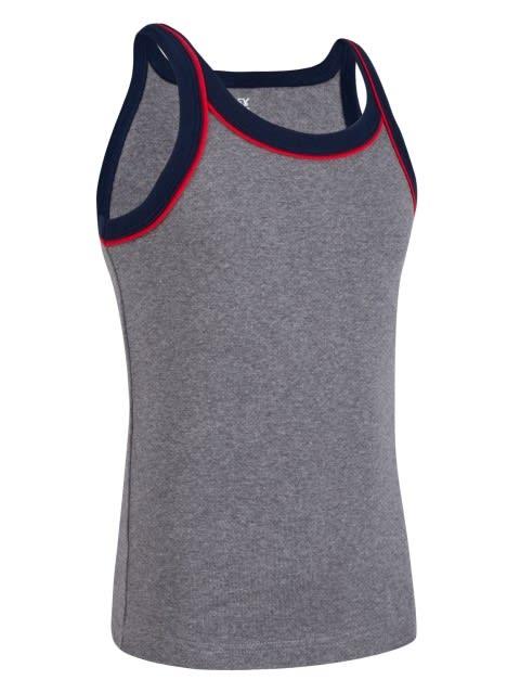 Mid Grey Melange & Navy Boys Vest