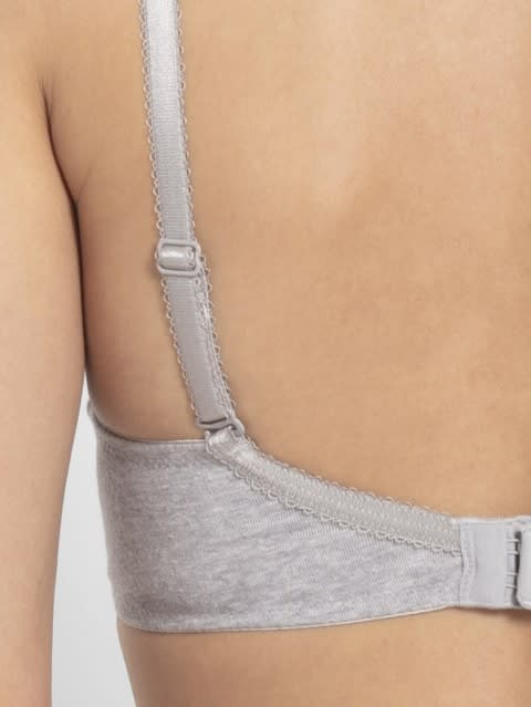 Light Grey Melange Full coverage non wired T shirt Bra