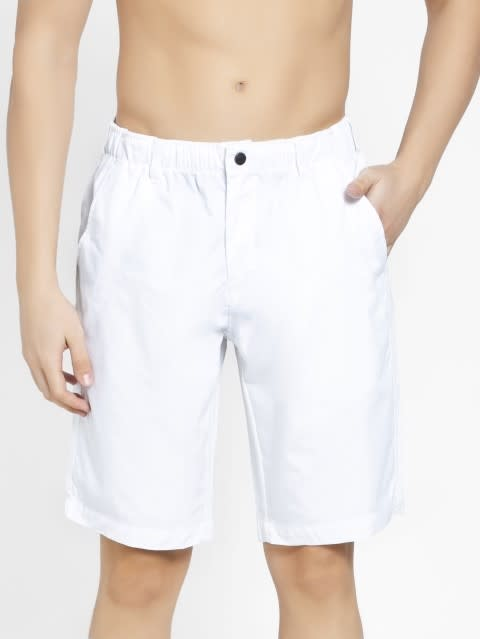 White Straight fit Shorts