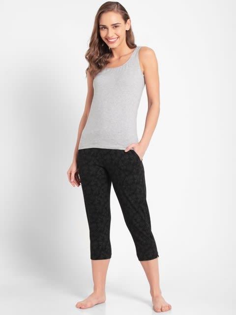 Black Printed Capri Pants
