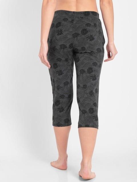 Charcoal Printed Capri Pants