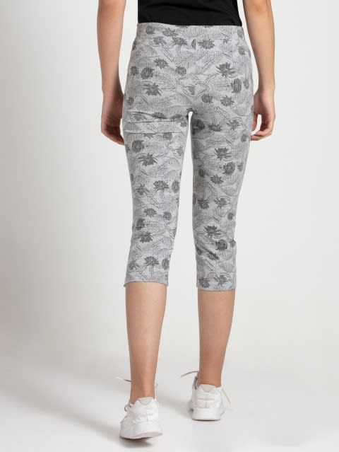 Light Grey Melange Printed Capri Pants