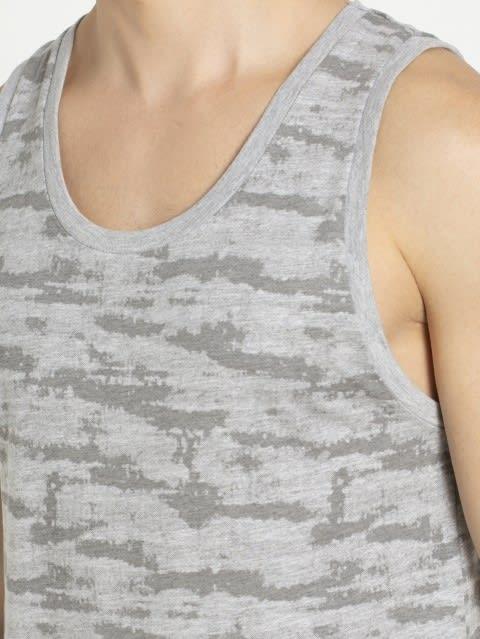Light Grey Melange Print Tank Top