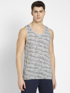 Light Grey Melange Print Tank Top