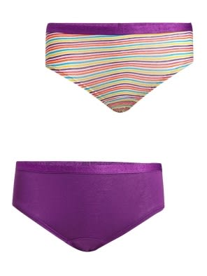 Voilet & Assorted Print Girls Panty Pack of 2