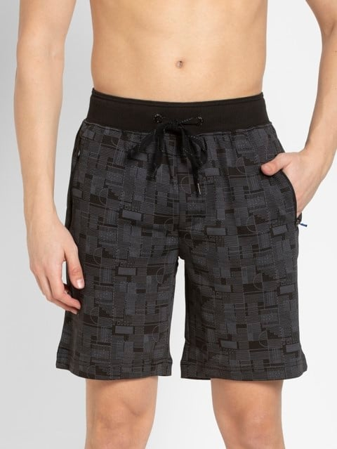 Black Prints Straight fit Shorts