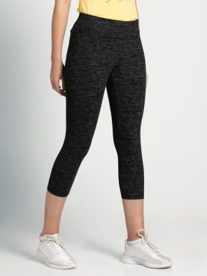 Black Marl Knit Sports Capri