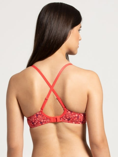 Hibiscus Red Print294 Padded Wired Bra