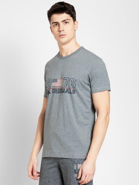 Grey Melange Crew neck Graphic1 T-shirt