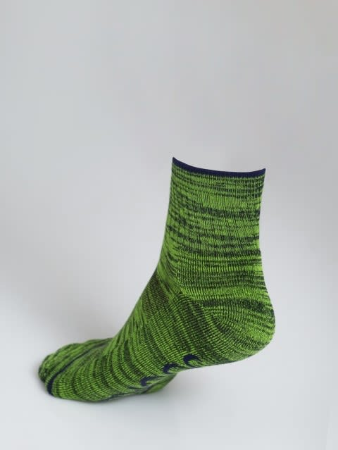 Navy & Performance Green Men Ankle Socks
