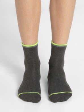 Charcoal Melange & Assorted Neon Colors Men Ankle Socks