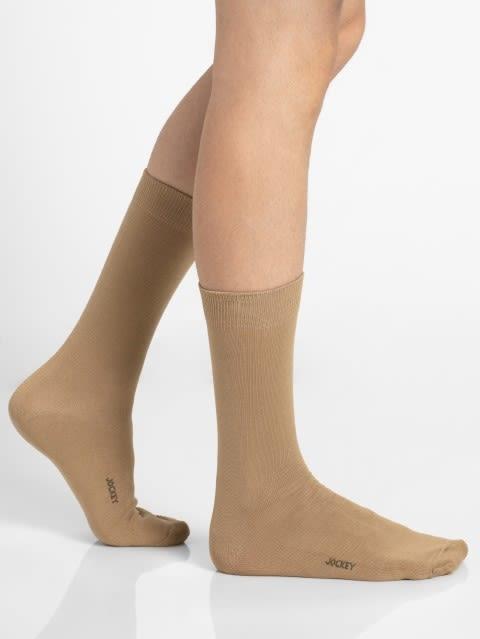 Beige Men Calf Length Socks