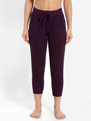 Purple Wine Slim Fit Capri