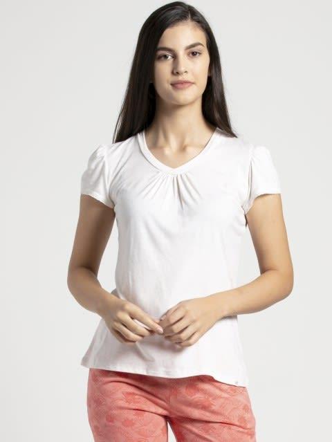 Ecru Melange V - Neck T-Shirt
