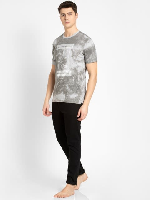 Light Grey Melange Print Sport T-Shirt
