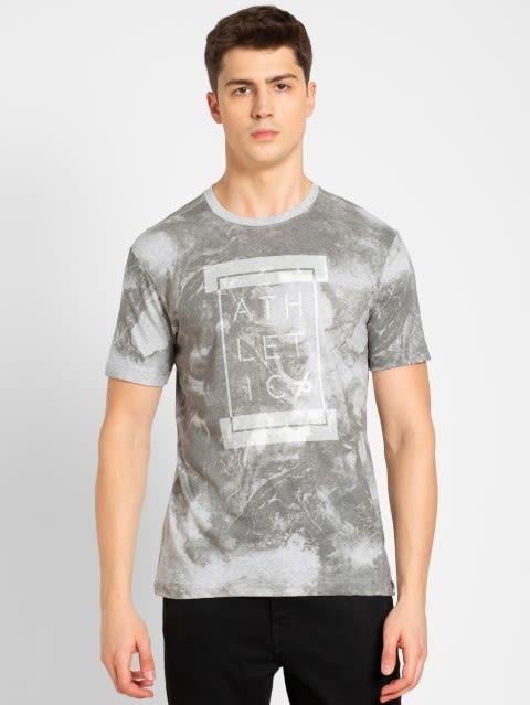 Light Grey Melange Print Sport T-Shirt