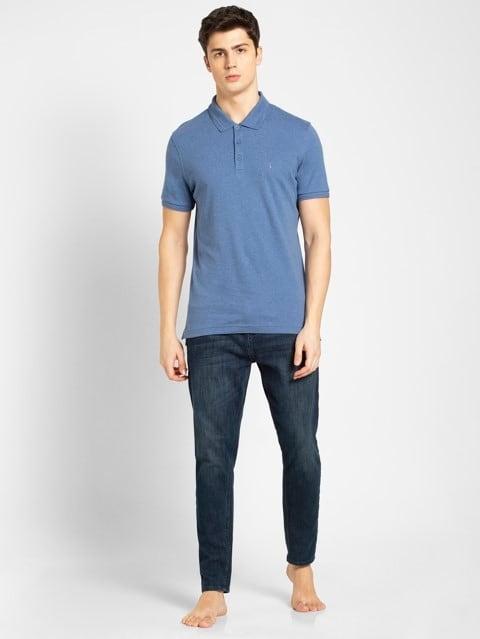 Lt Denim Melange Polo T-Shirt