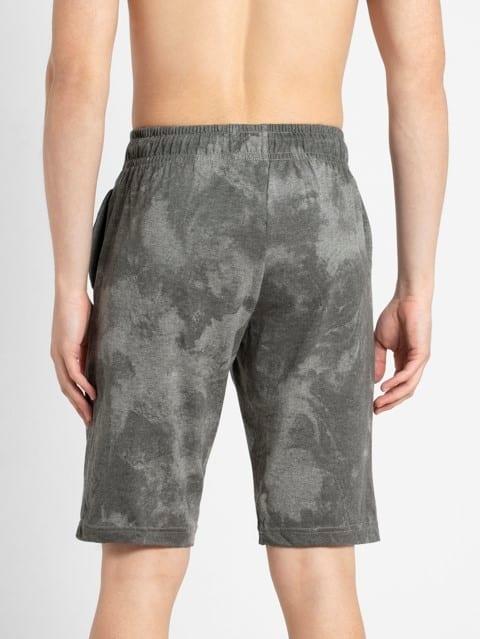 Mid Grey Melange Print Straight fit shorts