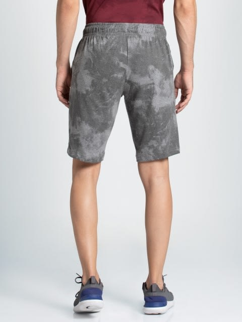Mid Grey Melange Print Straight fit shorts