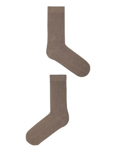 Brown Melange S1 Men Calf Length Socks