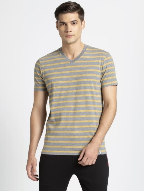 Burnt Gold & Mid Grey Melange T-Shirt