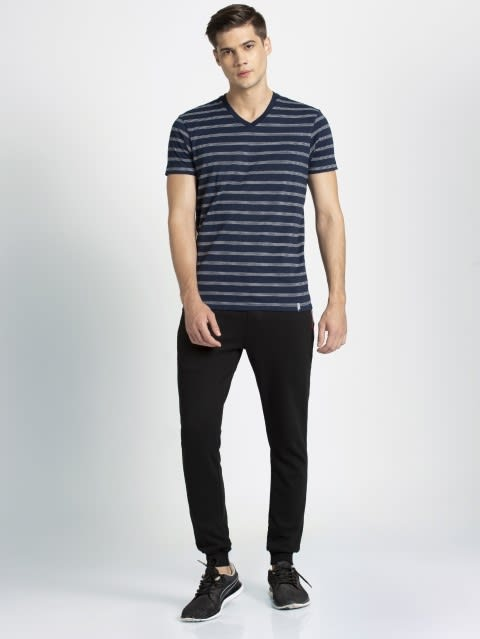 Mid Grey Melange & Navy T-Shirt